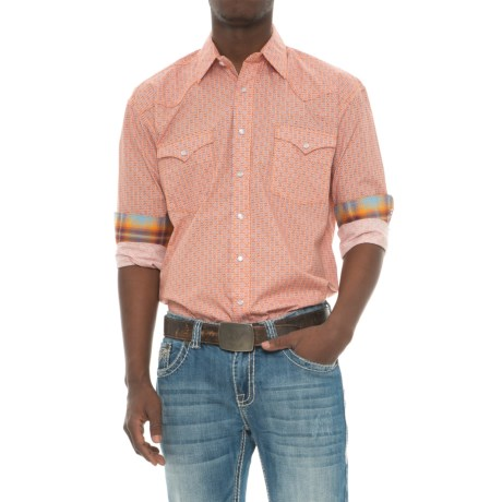 Panhandle Rough Stock Printed Poplin Shirt - Snap Front, Long Sleeve (For Men) in Orange
