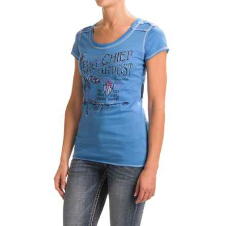 Panhandle Screenprint Jersey T-Shirt - Scoop Neck (For Women) in Ocean - Closeouts