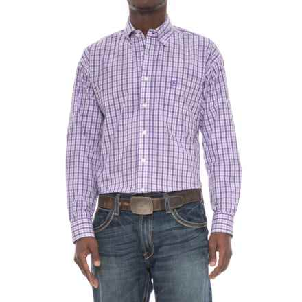 Panhandle Select Dobby Poplin Shirt - Button Front, Long Sleeve (For Men) in White/Purple - Overstock