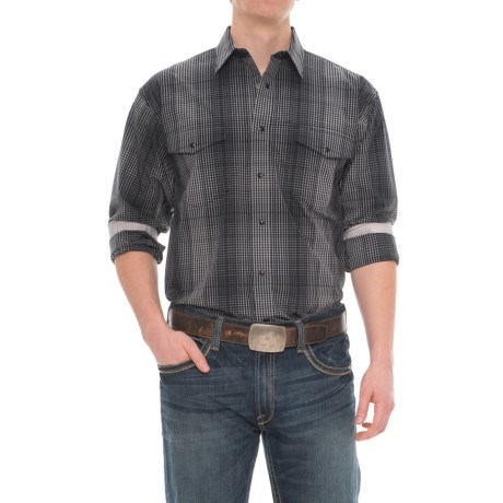 Panhandle Select Poplin Plaid Shirt - Snap Front, Long Sleeve (For Men) in Charcoal