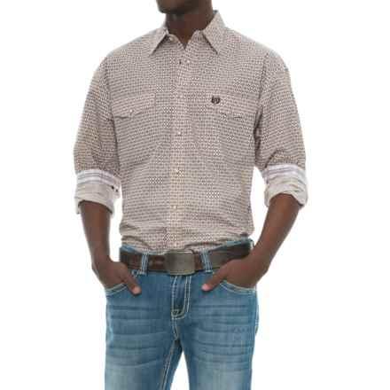 Panhandle Select Poplin Print Shirt - Long Sleeve (For Men) in Tan - Closeouts