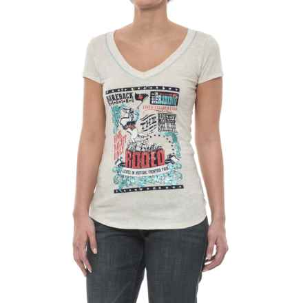 Panhandle Shimmer Embellished Rodeo T-Shirt - Short Sleeve (For Women) in White/Multi - Closeouts