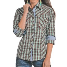 Panhandle Slim 90 Proof Dobby Plaid Shirt - Long Sleeve (For Women) in Brown Mint Plaid - Closeouts