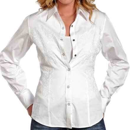 Panhandle Slim 90 Proof Embroidered Sateen Shirt - Long Sleeve (For Women) in White - Closeouts