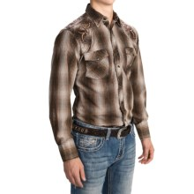 Panhandle Slim 90 Proof Embroidery Check Shirt - Snap Front, Long Sleeve (For Men) in Brown - Closeouts