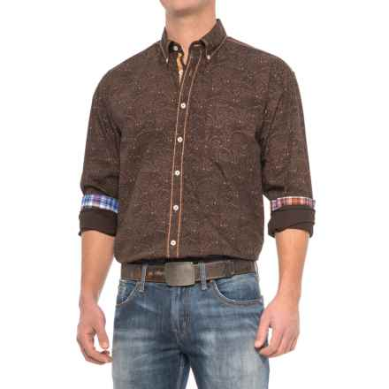 Panhandle Slim 90 Proof Poplin Plaid Shirt - Embroidery, Snap Front, Long Sleeve (For Men) in Dark Brown - Closeouts