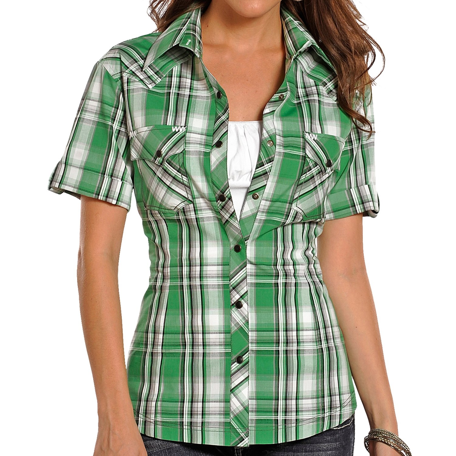 Panhandle slim 90 proof satin plaid shirt short sleeve for Womens green checked shirt