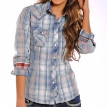 Panhandle Slim 90 Proof Snow-Washed Plaid Western Shirt - Snap Front, Long Sleeve (For Women) in Blue - Closeouts
