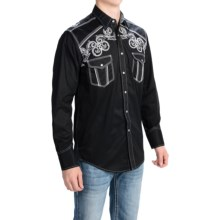 Panhandle Slim 90 Proof Solid Embroidered Shirt - Snap Front, Long Sleeve (For Men) in 00 Black - Closeouts