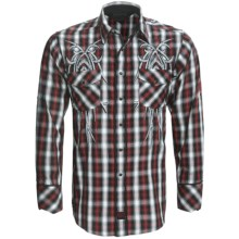 Panhandle Slim 90 Proof Western Snap Embroidered Shirt - Roll-Up Long Sleeve (For Men) in Black - Closeouts