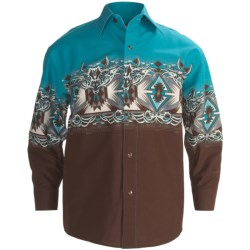 Panhandle Slim Aztec Border Print Western Shirt - Snap Front, Long Sleeve (For Boys) in Turquoise