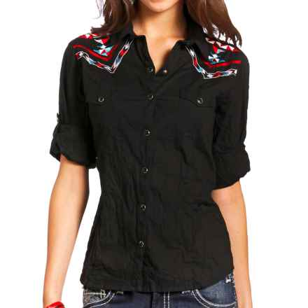 Panhandle Slim Aztec-Embroidered Western Shirt - Snap Front, Long Sleeve (For Women) in Black - Closeouts