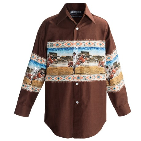 Panhandle Slim Border Print Shirt - Snap Front, Long Sleeve (For Boys) in Dark Brown/Bronc