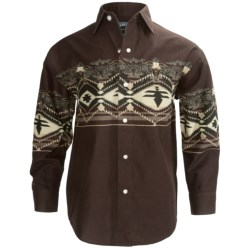 Panhandle Slim Border Print Shirt - Snap Front, Long Sleeve (For Boys) in Dark Brown