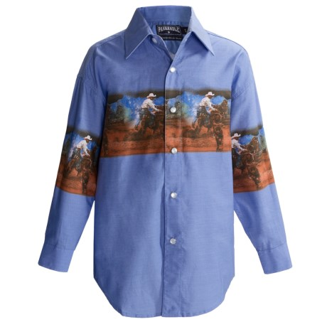 Panhandle Slim Border Print Shirt - Snap Front, Long Sleeve (For Boys) in Denim/Roper