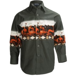 Panhandle Slim Border Print Shirt - Snap Front, Long Sleeve (For Boys) in Dark Brown/Bronc