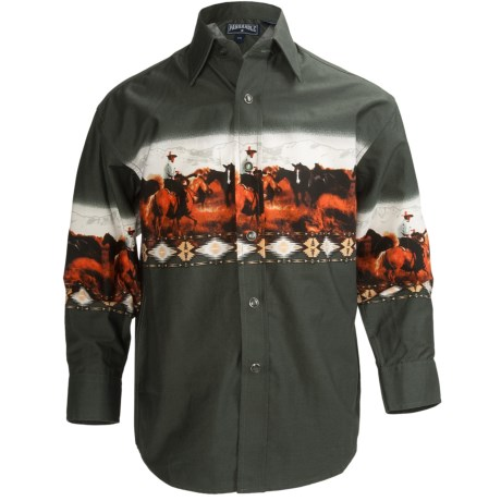 Panhandle Slim Border Print Shirt - Snap Front, Long Sleeve (For Boys) in Hunter