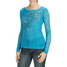 Panhandle Slim Burnout Shirt - Long Sleeve (For Women) in Marina - Closeouts