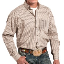 Panhandle Slim Competition Fit Check Shirt - Button Front, Long Sleeve (For Men) in Brown/Tan - Closeouts