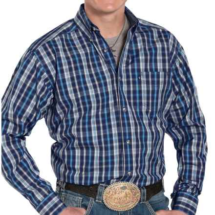 Panhandle Slim Competition Fit Plaid Shirt - Button Front, Long Sleeve (For Men) in Blue - Closeouts