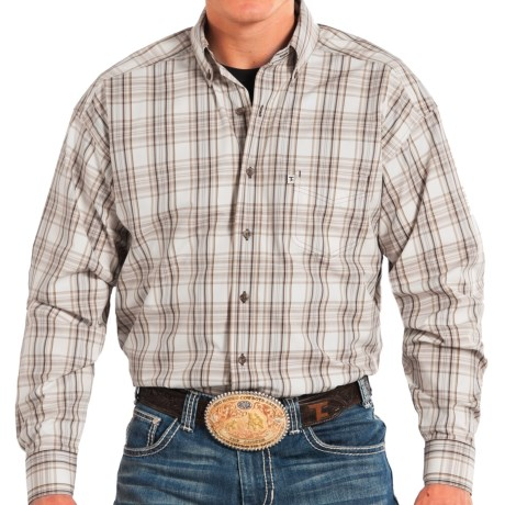 Panhandle Slim Competition Fit Plaid Shirt - Button Front, Long Sleeve (For Men) in Brown/Tan