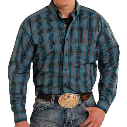 Panhandle Slim Competition Fit Plaid Shirt - Button Front, Long Sleeve (For Men) in Grey/Blue - Closeouts
