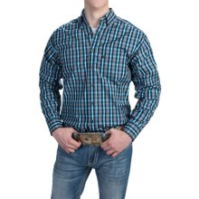 Panhandle Slim Competition Fit Plaid Shirt - Button Front, Long Sleeve (For Men) in Grey/Turquoise - Closeouts