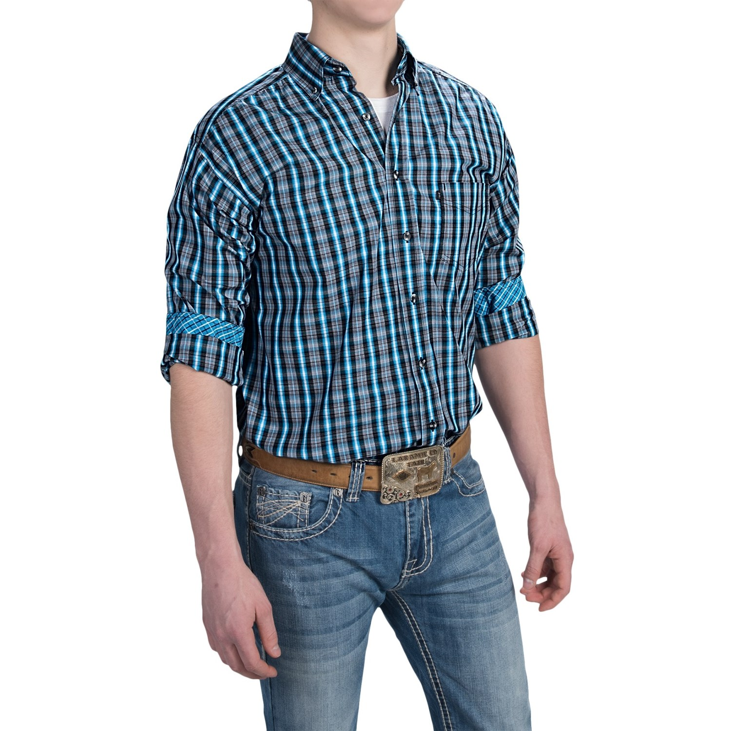 Panhandle slim competition fit plaid shirt for men for Plaid shirt long sleeve