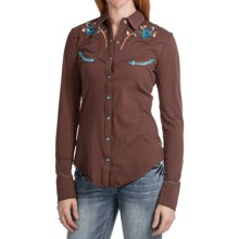 Panhandle Slim Contrast Embroidery Shirt - Snap Front, Long Sleeve (For Women) in Brown - Closeouts