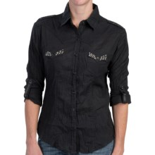Panhandle Slim Embellished Crinkle Slub Western Shirt - Long Sleeve (For Women) in Black - Closeouts