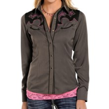 Panhandle Slim Embroidered Vintage Shirt - Snap Front, Long Sleeve (For Women) in Black W/ Grey / Light Grey - Closeouts