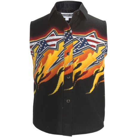 Panhandle Slim Fireworks Aztec Border Western Shirt - Snap Front, Sleeveless (For Girls) in Black