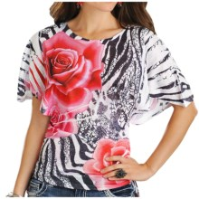 Panhandle Slim Floral Sublimation Print Shirt - 3/4 Kimono Sleeve (For Women) in Scarlet - Closeouts