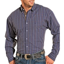 Panhandle Slim Mini-Stripe Plaid Shirt - Long Sleeve (For Men) in Blue - Closeouts