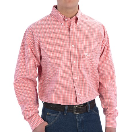 Panhandle Slim Peached Poplin Check Shirt - Long Sleeve (For Men) in 95 Coral