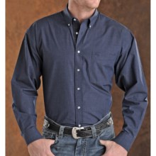 Panhandle Slim Peached Poplin Check Shirt - Long Sleeve (For Men) in Navy - Closeouts