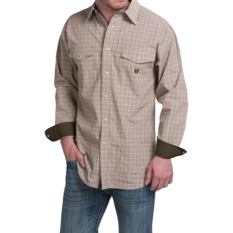 Panhandle Slim Peached Poplin Check Shirt Snap Front, Long Sleeve (For Men)