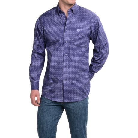 Panhandle Slim Peached Poplin Print Shirt Button Front Long Sleeve For Men