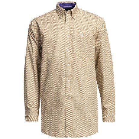 Panhandle Slim Peached Poplin Print Shirt - Long Sleeve (For Men) in Tan