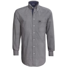 Panhandle Slim Peached Poplin Print Shirt - Long Sleeve (For Tall Men) in Brown - Closeouts