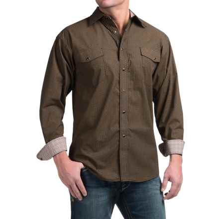 Panhandle Slim Peached Poplin Print Shirt - Snap Front, Long Sleeve (For Men) in Bronze - Closeouts