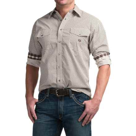Panhandle Slim Peached Poplin Print Shirt - Snap Front, Long Sleeve (For Men) in Brown - Closeouts