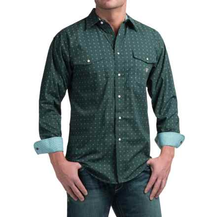 Panhandle Slim Peached Poplin Print Shirt - Snap Front, Long Sleeve (For Men) in Hunter Green - Closeouts