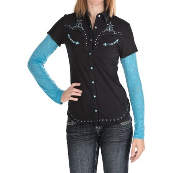Panhandle Slim Pearl Snap Burnout Sleeve Shirt - Long Sleeve (For Women) in Black