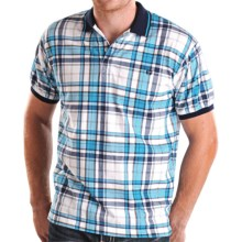 Panhandle Slim Plaid Polo Shirt - Cotton, Short Sleeve (For Men) in White/Teal - Closeouts