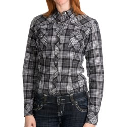 Panhandle Slim Plaid Shirt - Long Sleeve (For Women) in Black/White