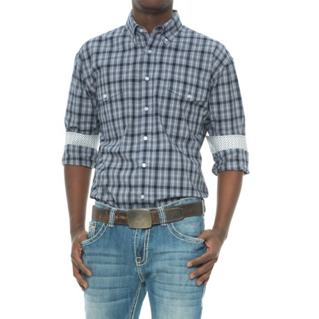 Panhandle Slim Plaid Western Shirt - Snap Front, Long Sleeve (For Men) in Navy