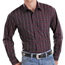 Panhandle Slim Poplin Plaid Shirt - Snap Front, Long Sleeve (For Men) in Burgundy - Closeouts