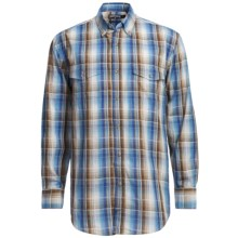 Panhandle Slim Poplin Satin Plaid Shirt - Long Sleeve (For Men) in Aqua - Closeouts
