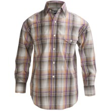 Panhandle Slim Poplin Satin Plaid Shirt - Snap Front, Long Sleeve (For Boys) in Lilac - Closeouts